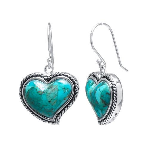 Enhanced Turquoise Sterling Silver Heart Drop Earrings