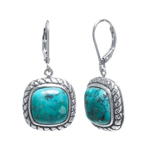 Enhanced Turquoise Sterling Silver Square Earrings