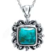 Color-Enhanced Turquoise Sterling Silver Square Pendant Necklace