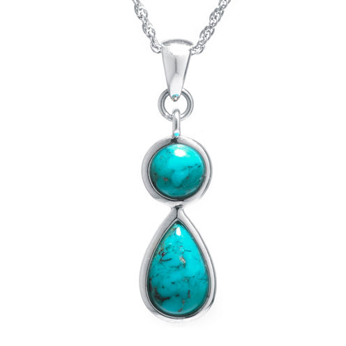 Enhanced Turquoise Sterling Silver Double-Drop Pendant Necklace