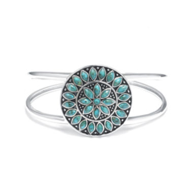 jcpenney.com | Enhanced Turquoise Sterling Silver Medallion Cuff Bracelet