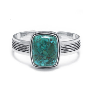 jcpenney.com | Enhanced Turquoise Sterling Silver Rectangular Cuff Bracelet