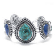 Color-Enhanced Turquoise and Multi-Stone Sterling Silver Bracelet