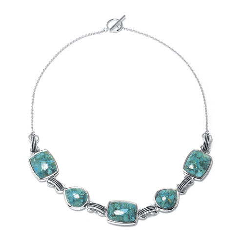 Enhanced Turquoise Sterling Silver Necklace