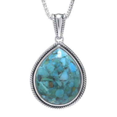 jcpenney.com | Enhanced Turquoise Sterling Silver Teardrop Pendant Necklace