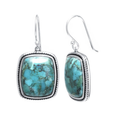 jcpenney.com | Enhanced Turquoise Sterling Silver Rectangular Drop Earrings
