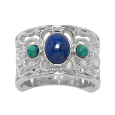 jcpenney.com | Enhanced Turquoise and Dyed Lapis Sterling Silver Wide Ring