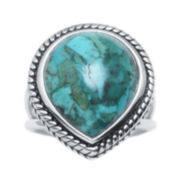 Color-Enhanced Turquoise Sterling Silver Teardrop Ring