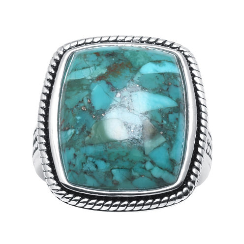 Enhanced Turquoise Sterling Silver Square Ring
