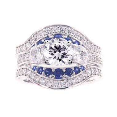 jcpenney.com | Diamonart® Cubic Zirconia and Lab-Created Blue Sapphire Sterling Silver Engagement Ring and Enhancer