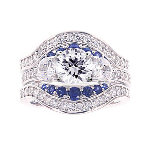 Diamonart® Cubic Zirconia and Lab-Created Blue Sapphire Sterling Silver Engagement Ring and Enhancer