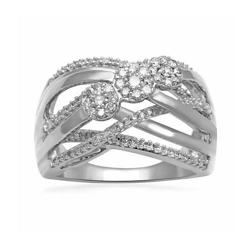 diamond blossom 1/2 CT. T.W. Diamond Sterling Silver Crossover Ring