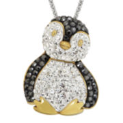 Crystal Penguin 14K Gold Over Silver Pendant Necklace