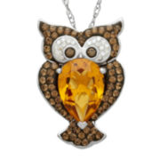 Crystal Owl Sterling Silver Pendant Necklace