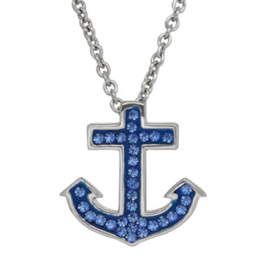 jcpenney.com | Blue Crystal Anchor Sterling Silver Pendant Necklace