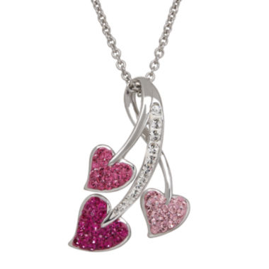 jcpenney.com | Crystal Three-Heart Sterling Silver Pendant Necklace