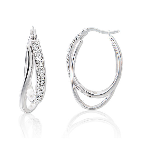 Crystal Sterling Silver Double Hoop Earrings