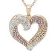 Multicolor Crystal 14K Gold Over Silver Heart Pendant Necklace