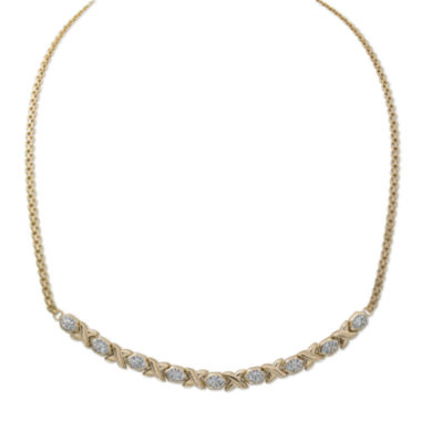 jcpenney.com | Crystal 14K Gold Over Silver Hugs and Kisses Stampato Necklace