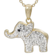 Crystal 14K Gold Over Silver Elephant Pendant Necklace