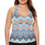 Liz Claiborne® Tribal Chevron Over the Shoulder Tankini Swim Top - Plus