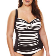 Liz Claiborne® Chelsea Stripe Sweetheart Tankini Swim Top - Plus