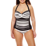 Liz Claiborne® Chelsea Stripe Sweetheart Halter Maillot 1-pc. Swimsuit - Plus