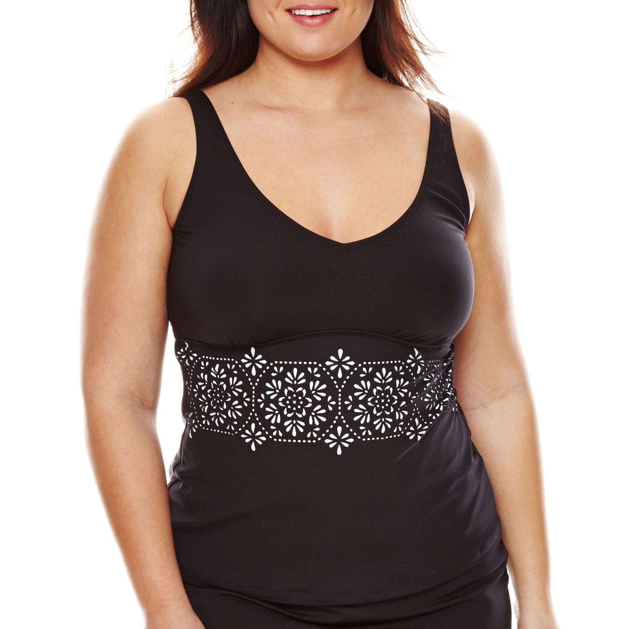 Liz Claiborne Laser Cut Tankini Swim Top - Plus plus size,  plus size fashion plus size appare