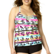 Arizona Tropical High-Neck Tankini Swim Top - Juniors Plus