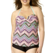Arizona Chevron Twisted Bandeaukini Swim Top - Juniors Plus