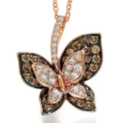 CLOSEOUT! Le Vian Grand Sample Sale White and Chocolate Diamond Butterfly Necklace