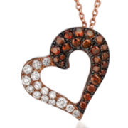 3/8 CT. T.W. White and Chocolate Diamond Heart Necklace