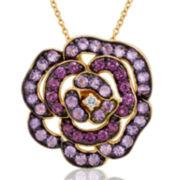 Le Vian Grand Sample Sale Genuine Amethyst and Rhodolite Garnet Flower Pendant Necklace