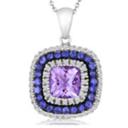 CLOSEOUT! Le Vian Grand Sample Sale Genuine Amethyst and Sapphire Framed Pendant Necklace