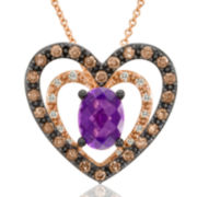 CLOSEOUT! Le Vian Grand Sample Sale Chocolatier Genuine Amethyst and Chocolate Diamond Necklace