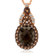 CLOSEOUT! Le Vian Grand Sample Sale Genuine Brown Quartz and White Sapphire Drop Pendant Necklace