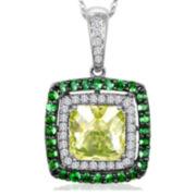 Le Vian Grand Sample Sale Genuine Green Quartz and Tsavorite Framed Pendant Necklace