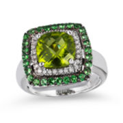 Le Vian Grand Sample Sale Genuine Peridot and Tsavorite Framed Ring