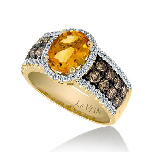 LIMITED QUANTITIES Le Vian Grand Sample Sale Genuine Citrine and Chocolate Diamond® Ring