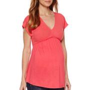 Maternity Short-Sleeve Mixed Media Knit Top