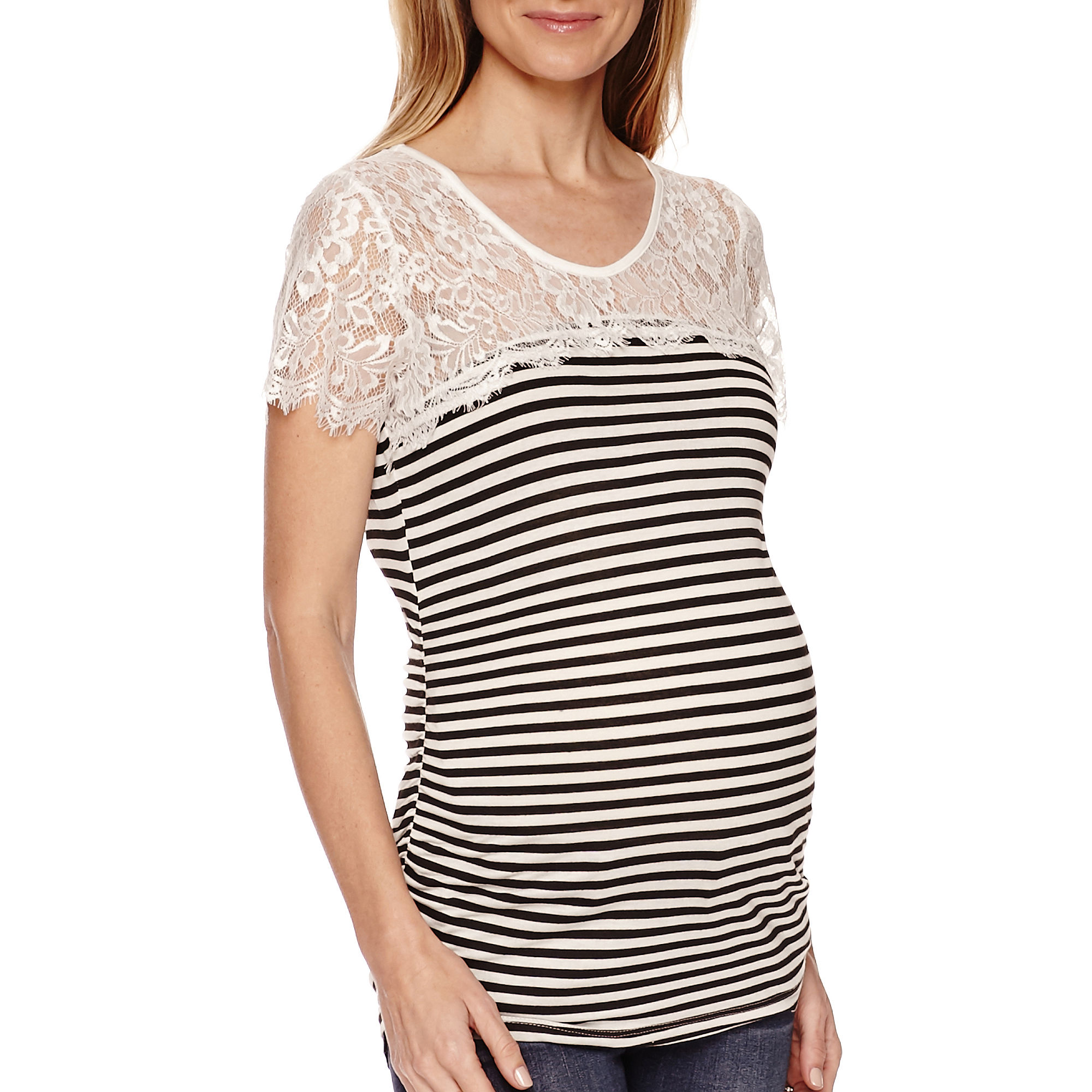 Maternity Short-Sleeve Striped Lace Knit Top - Plus plus size,  plus size fashion plus size appare