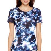 Liz Claiborne® Short-Sleeve High-Low Peplum Pullover Shirt - Petite
