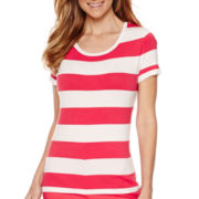 Liz Claiborne® Short-Sleeve Stripe Crewneck Sweater