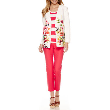 jcpenney.com | Liz Claiborne® Long-Sleeve Swing Printed Jacket, Short-Sleeve Sweater or Ankle Pants