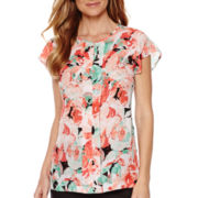 Liz Claiborne® Short-Sleeve Pleated Print Blouse