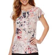 Liz Claiborne® Short-Sleeve Pleated Print Blouse