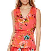 Liz Claiborne® Sleeveless Wrap Peplum Top