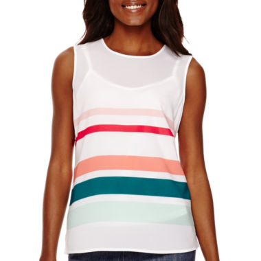 jcpenney.com | Liz Claiborne® Sleeveless Striped Shell Top - Tall
