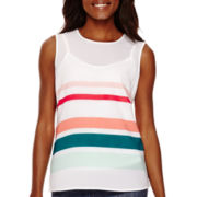 Liz Claiborne® Sleeveless Striped Top