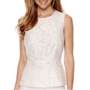 Liz Claiborne® Sleeveless Lace Peplum Top